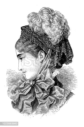 Illustration of a Young Fashionable Woman with plush hat with feather - Victorian Engraving