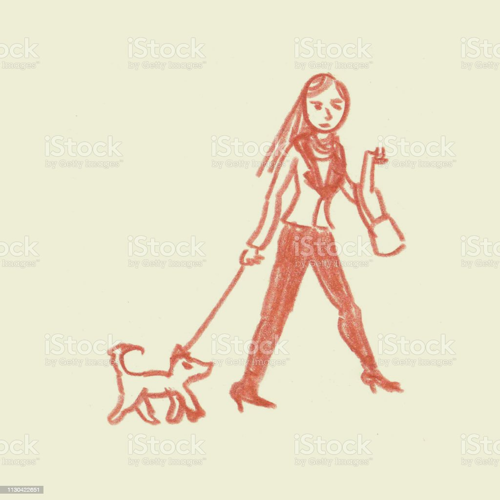 Young fashionable woman with handbag walking small dog colored pencil sketch illustration