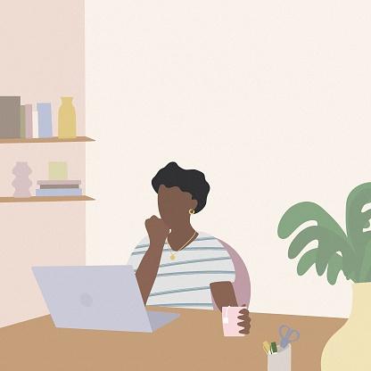 Young freelance women illustration