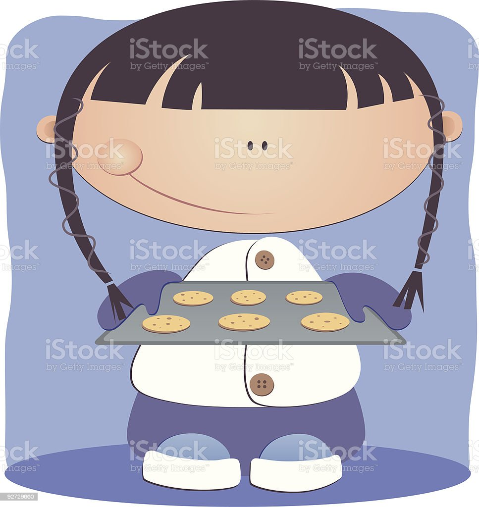 young girl baking royalty-free stock vector art