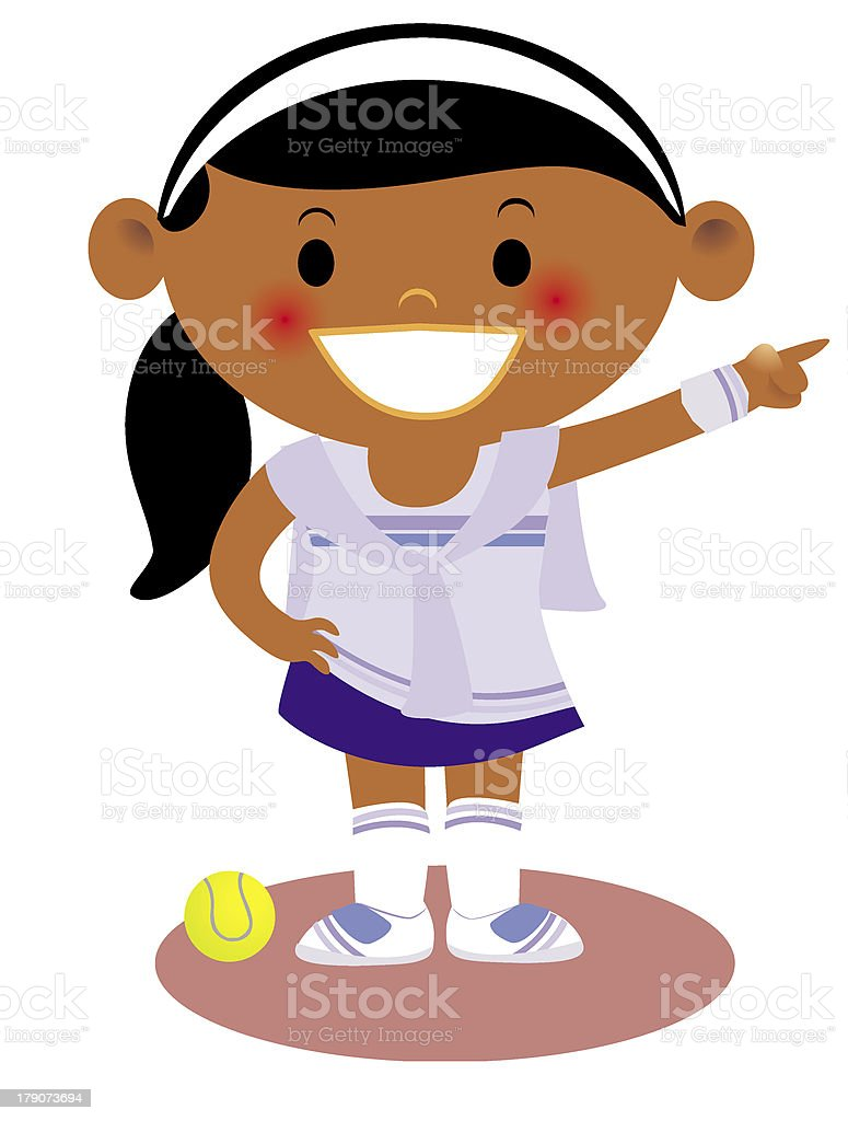young girl dressed in a tennis uniform pointing royalty-free young girl dressed in a tennis uniform pointing stock vector art & more images of accessibility