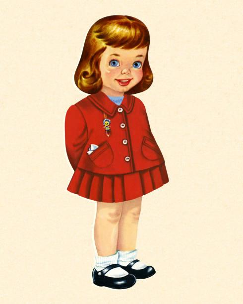 stockillustraties, clipart, cartoons en iconen met jong meisje - alleen één meisje