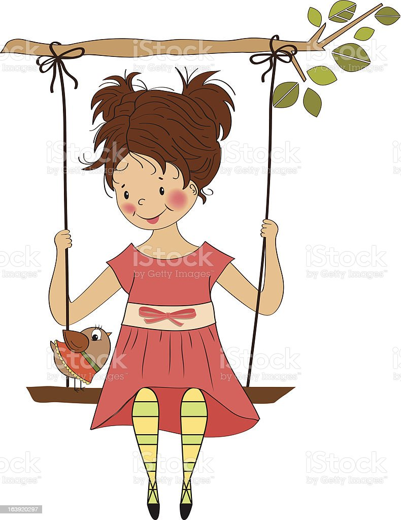 young girl in a swing royalty-free stock vector art