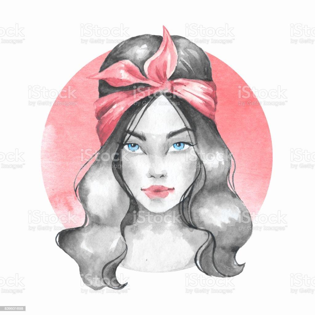 Bandana Genç Kız Sulu Boya Resim Güzel Kadın Stok Vektör