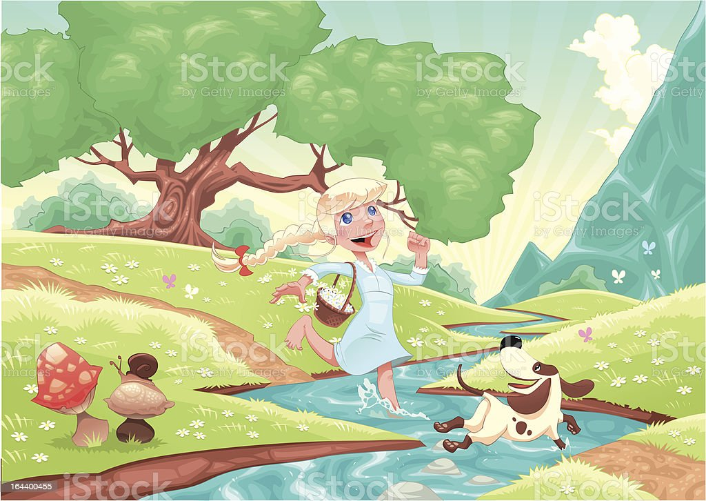 Young girl is running with dog in the nature. royalty-free young girl is running with dog in the nature stock vector art & more images of animal