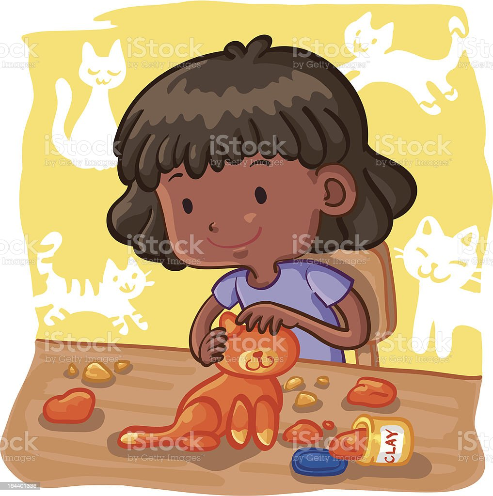 Young Girl Molding a Cat with Clay vector art illustration