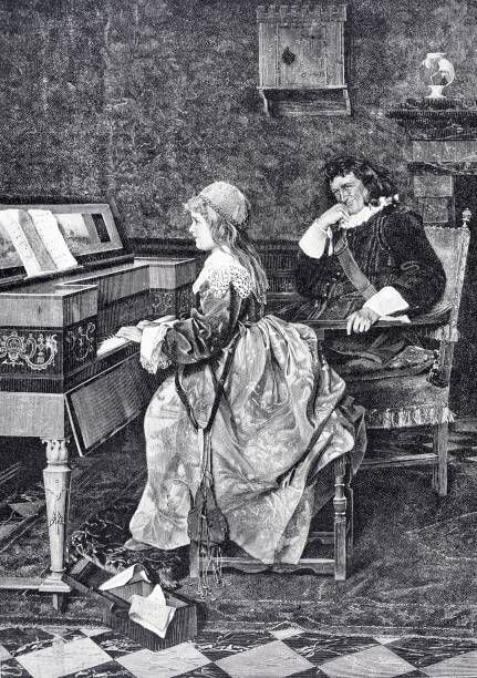 young girl playing piano, teacher listening - old man standing drawings stock illustrations, clip art, cartoons, & icons