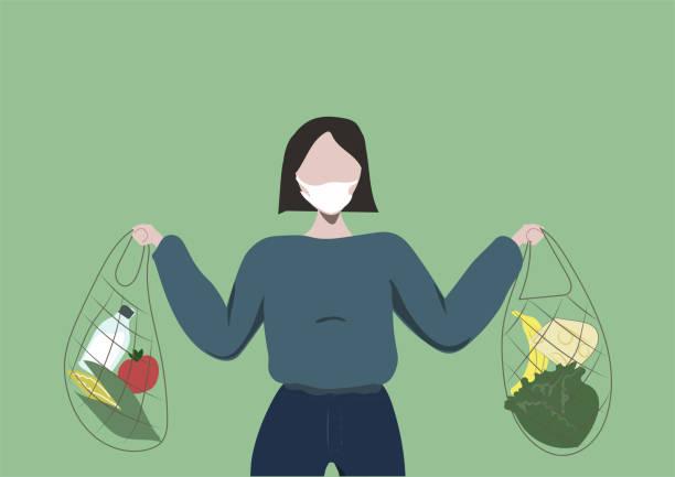 ilustrações de stock, clip art, desenhos animados e ícones de young girl short hair shopping with eco shopping bags - covid hair