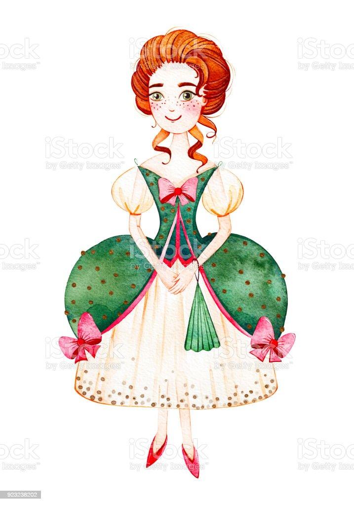Jovem garota com estilo rococó verde vestido e ventilador de mão ilustração  de jovem garota com d472ccfc28