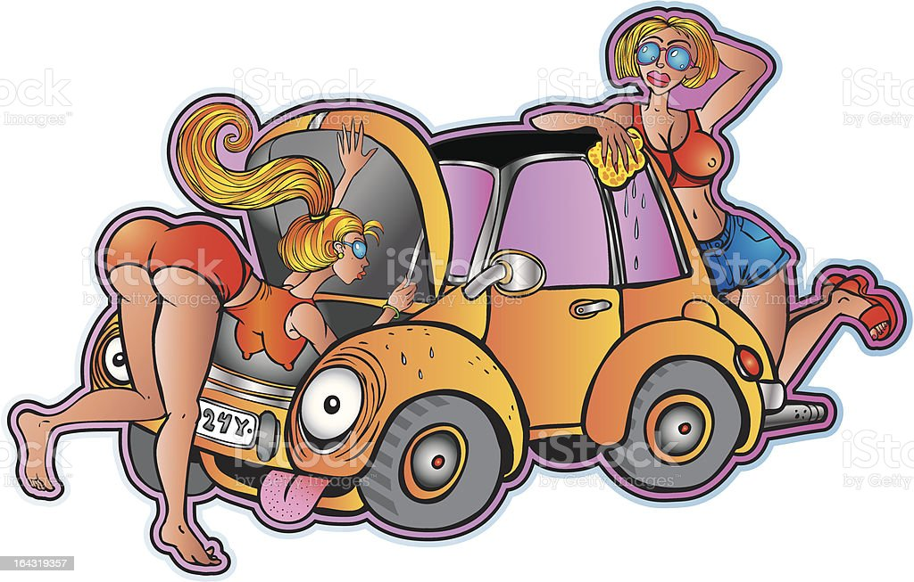 Young girls and old car vector art illustration