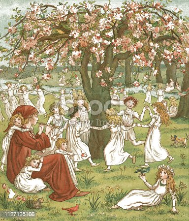 "The Pied Piper playing his pipe to children in the fields near the town of Hamelin in Lower Saxony, Germany, on a beautiful spring day. The legend of the Pied Piper tells how he removed a plague of rats from the town in 1284, luring them away by playing his pipe; however, when the townsfolk refused to pay him, he enticed away most of their children in the same manner. From ""The Pied Piper of Hamelin"" by Robert Browning, illustrated by Kate Greenaway, published by George Routledge & Sons, London, Glasgow, Manchester and New York in 1888."