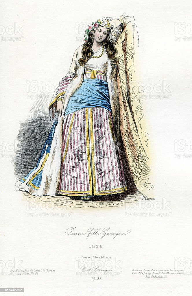 Young Greek Girl Traditional Costume royalty-free stock vector art