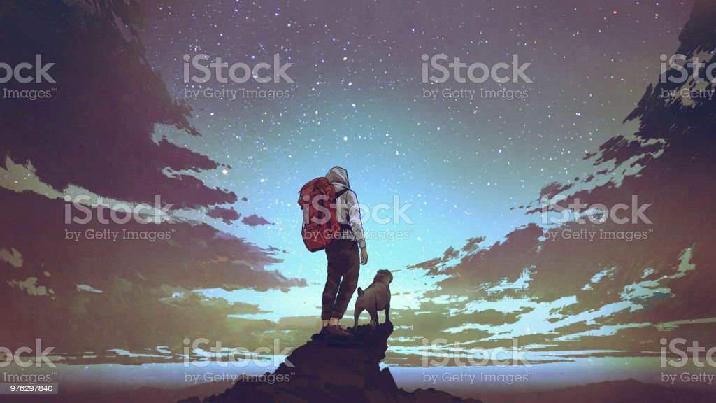 young hiker and dog looking at the sky - Royalty-free Acrylic Painting stock illustration