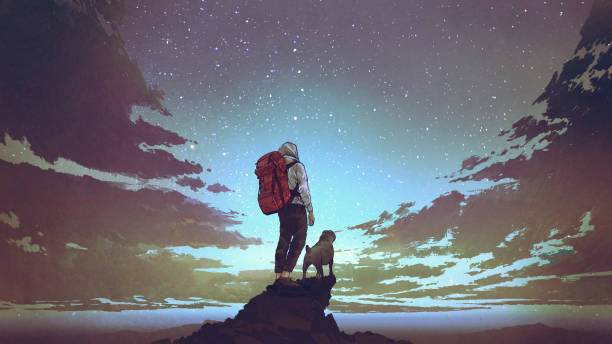young hiker and dog looking at the sky vector art illustration