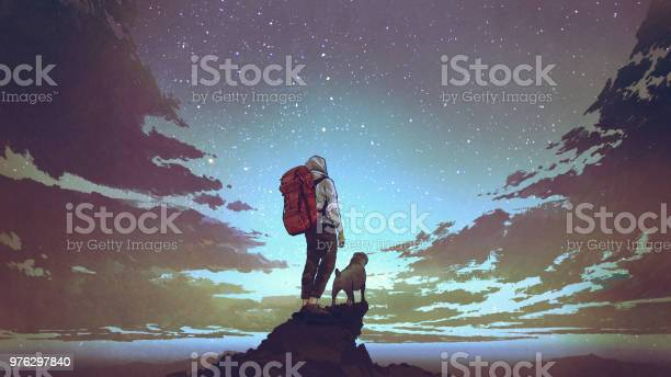 Young Hiker And Dog Looking At The Sky Stock Illustration - Download Image Now