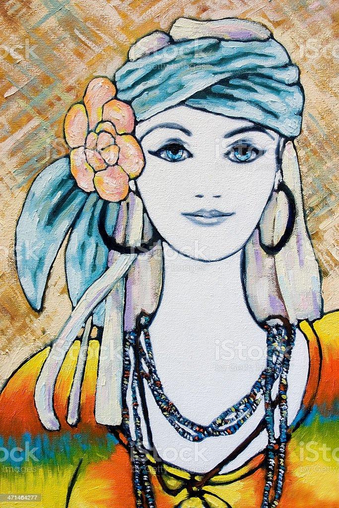 Young Hippie Woman Portrait Oil Painting vector art illustration