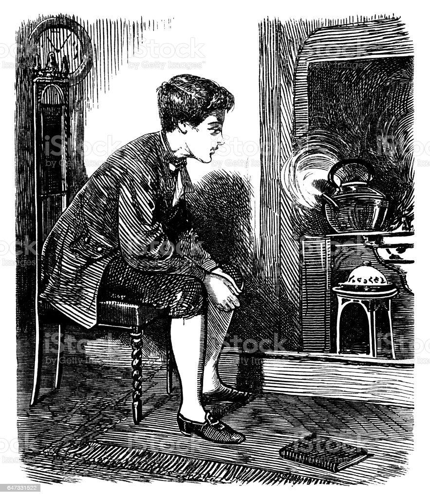 Young James Watt watching a steaming kettle vector art illustration