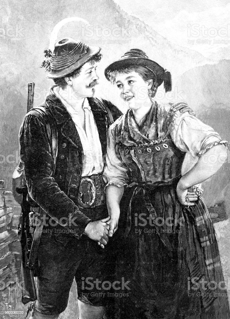 Young lovers in the mountains - Illustration .