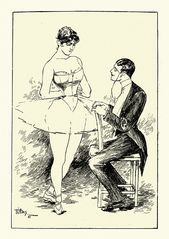 Young man flirting with a  Ballerina Victorian 19th Century