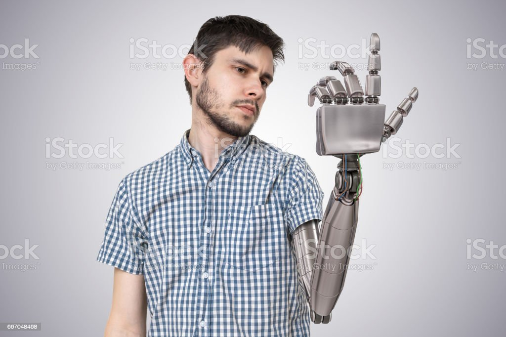 Young man have robotic hand as a replacement for his hand. 3D rendered illustration of hand. vector art illustration