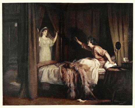 Vintage illustration of . After the painting Speak! Speak! by Sir John Everett Millais, 19th Century.