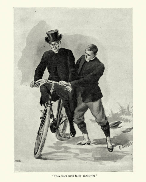 young man teaching an old man to ride a bicycle - old man on bike stock illustrations, clip art, cartoons, & icons