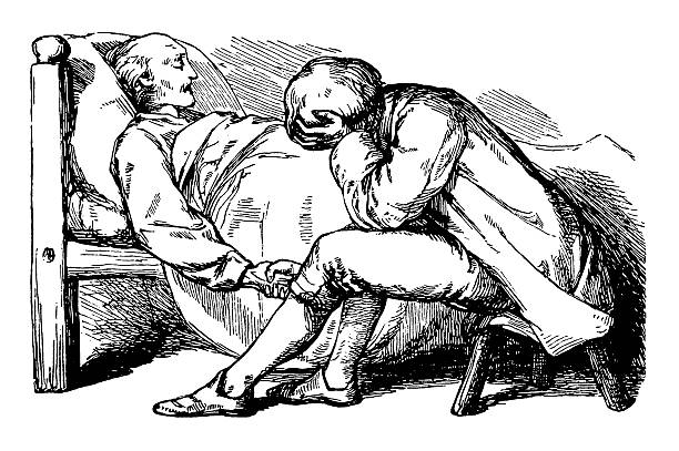 young man with his dying father - old man sleeping drawing stock illustrations, clip art, cartoons, & icons