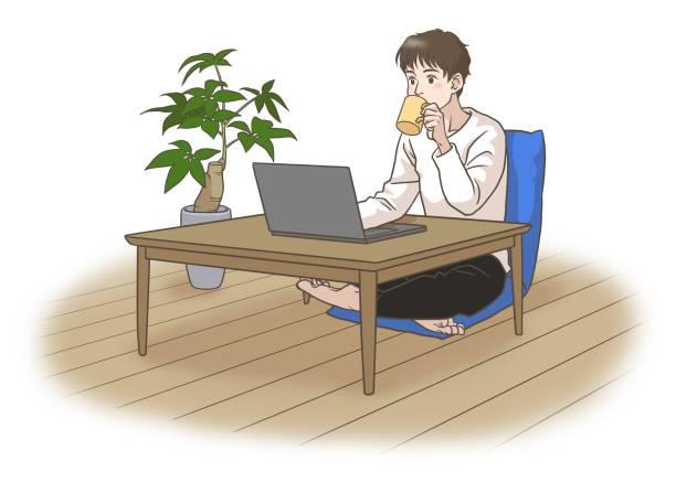 コーヒーを飲みながら遠隔で働いたり学んだりする若者 - 大学生 パソコン 日本点のイラスト素材/クリップアート素材/マンガ素材/アイコン素材