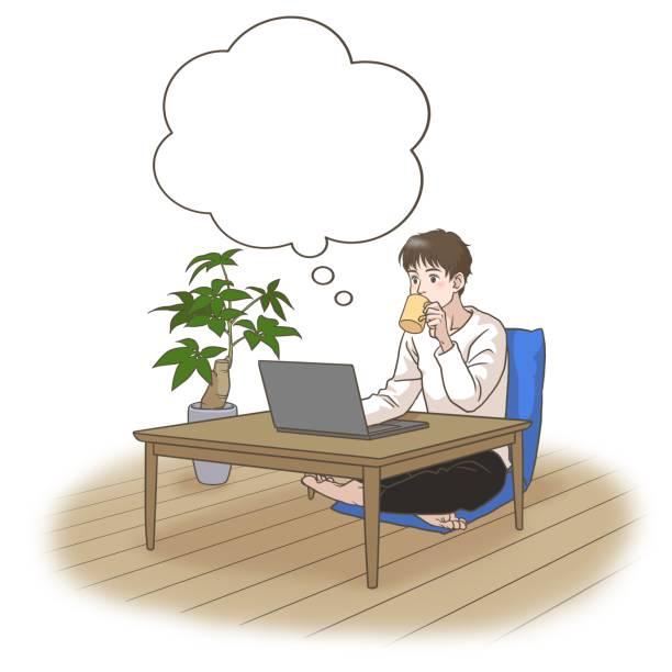 コーヒーを飲みながら遠隔地で働いたり学んだりする若者が何かを考える - 大学生 パソコン 日本点のイラスト素材/クリップアート素材/マンガ素材/アイコン素材