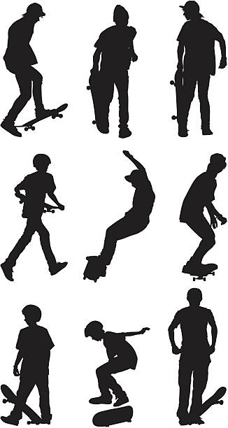 stockillustraties, clipart, cartoons en iconen met young men skateboarding - buigen lichaamsbeweging