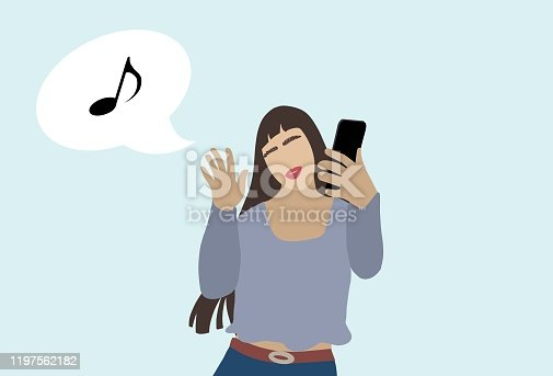 istock Young millennial girl using own smart phone and dancing 1197562182
