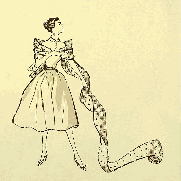 young modish woman with bolt of fabric - 1940s style stock illustrations