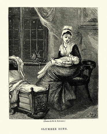 Vintage illustration of Young mother singing her baby a lullaby, Victorian 1870s, 19th Century