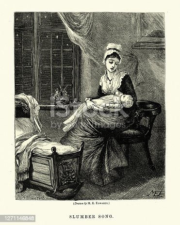 istock Young mother singing her baby a lullaby, Victorian 1870s, 19th Century 1271146848