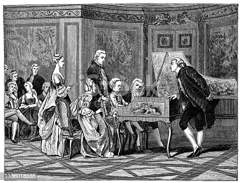Young Mozart performing for Louis Francois I de Bourbon in Paris, France in 1766 by Gustave Boulanger. Vintage etching circa mid 19th century.