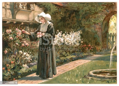 "A young nun quietly gathering flowers in the nunnery garden on a sunny day. From ""Longfellow Pictures"" by Herbert Dicksee, Miss M Dicksee and J Finnemore. Published by Ernest Nister, London and printed by E Nister in Nuremberg, Bavaria, 1891."