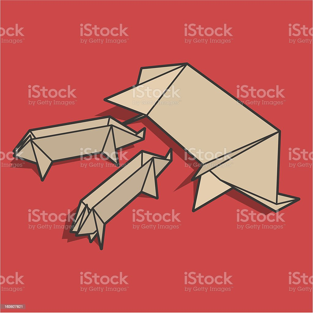 Young paper pigs are hungry royalty-free young paper pigs are hungry stock vector art & more images of animal