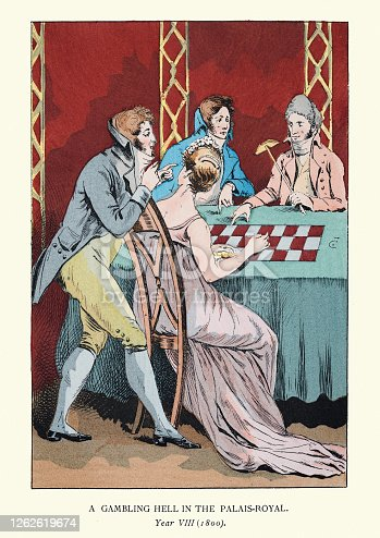 Vintage illustration of Young Parisians gambling at the Palais Royal, start 19th Century