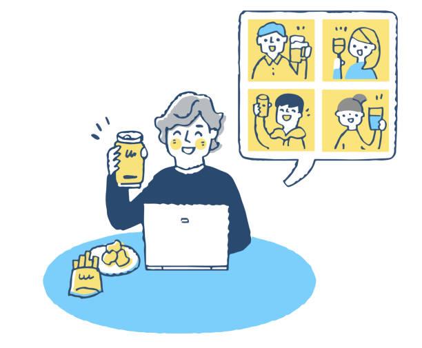 オンラインで飲み会を楽しむ若者 - リモート点のイラスト素材/クリップアート素材/マンガ素材/アイコン素材