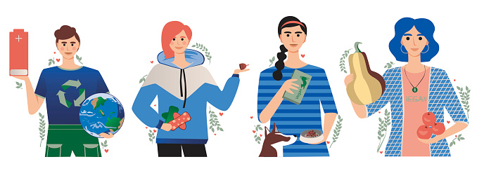 Young people leading a green, eco-friendly lifestyle as a concept of saving the planet, zero waste, veganism, flat vector illustration isolated on white background