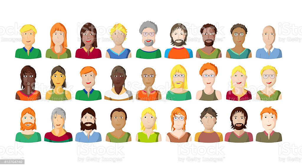 Young people portraits on white background, cartoon style vector art illustration