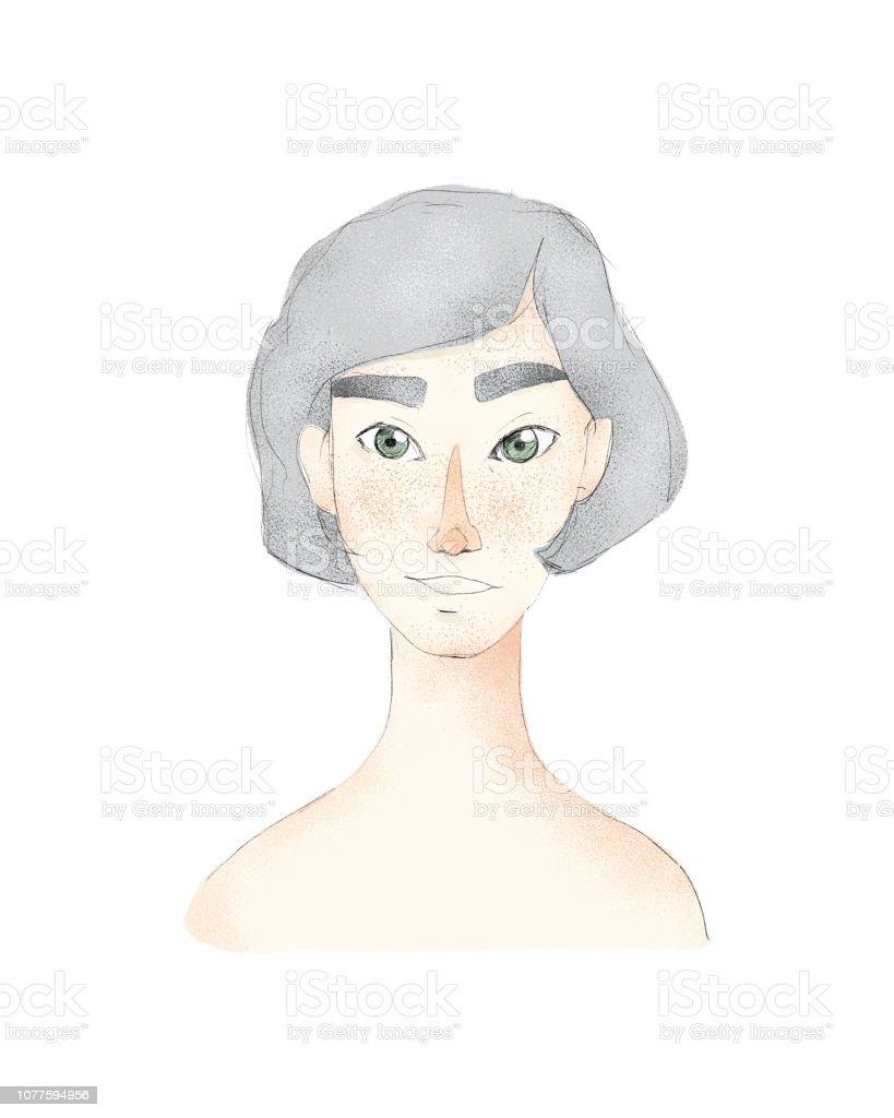 Junge Hubsche Frau Mit Kurzen Haarschnitt Madchen Mit Grauen Haaren