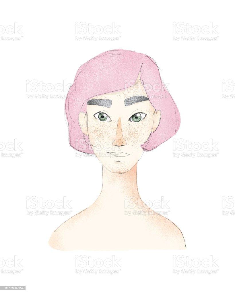 Junge Hubsche Frau Mit Kurzen Haarschnitt Madchen Mit Rosa Haaren