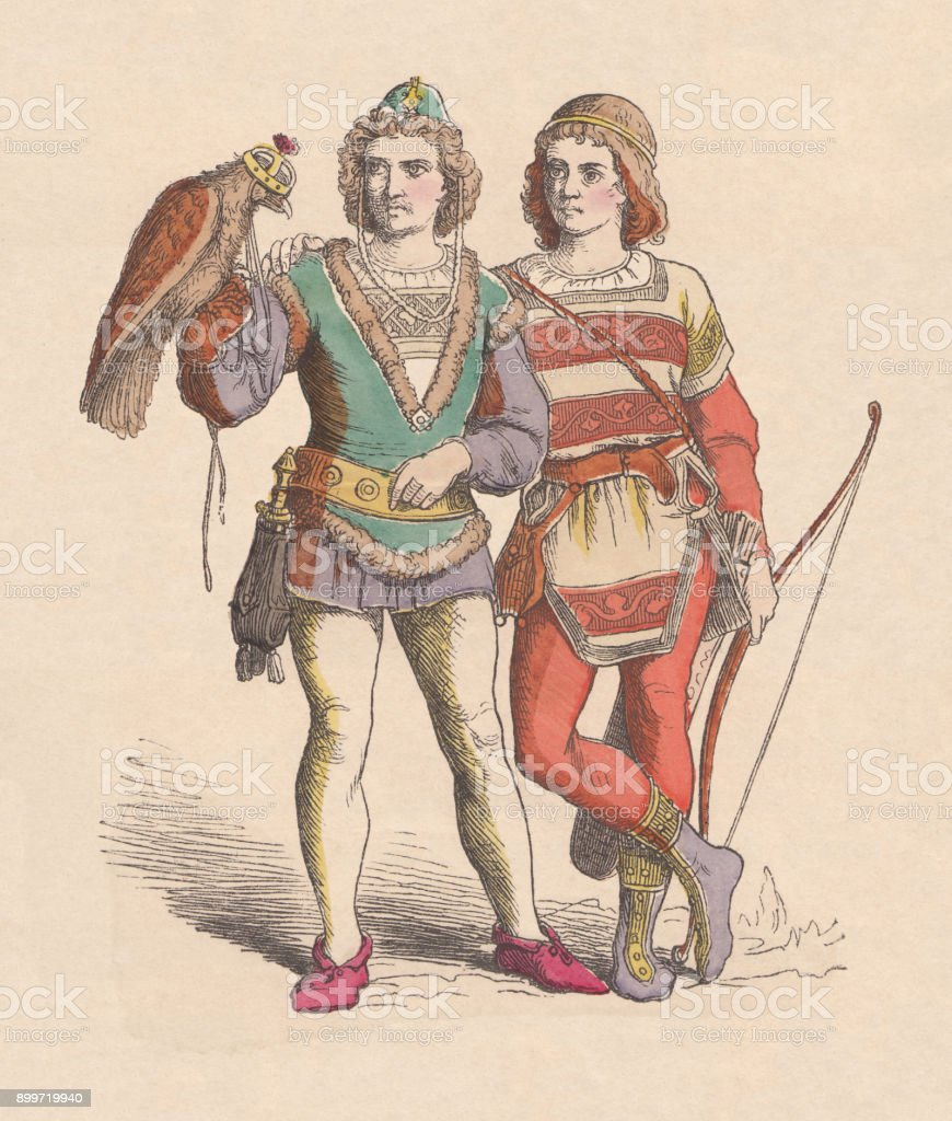 Young princes as falconers during the Middle Ages, published c.1880 vector art illustration