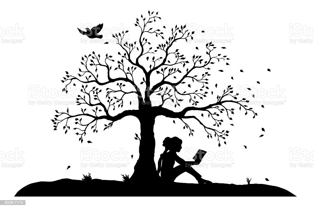 young reading girl under a tree vector art illustration