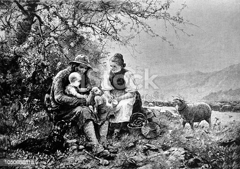 Young shepherd's family with a baby and sheep sit on a meadow - 1888