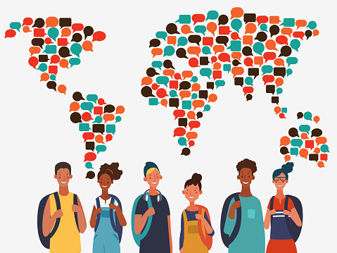 Young, smiling people with backpacks. Travel, vacation, holidays and adventure vector concept illustration. World map made of colorful speech bubbles