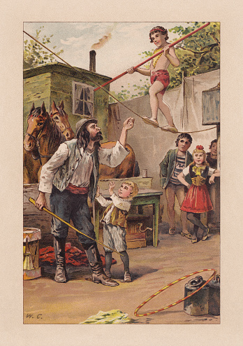 Young tightrope walker in the past, chromolithograph, published in 1899