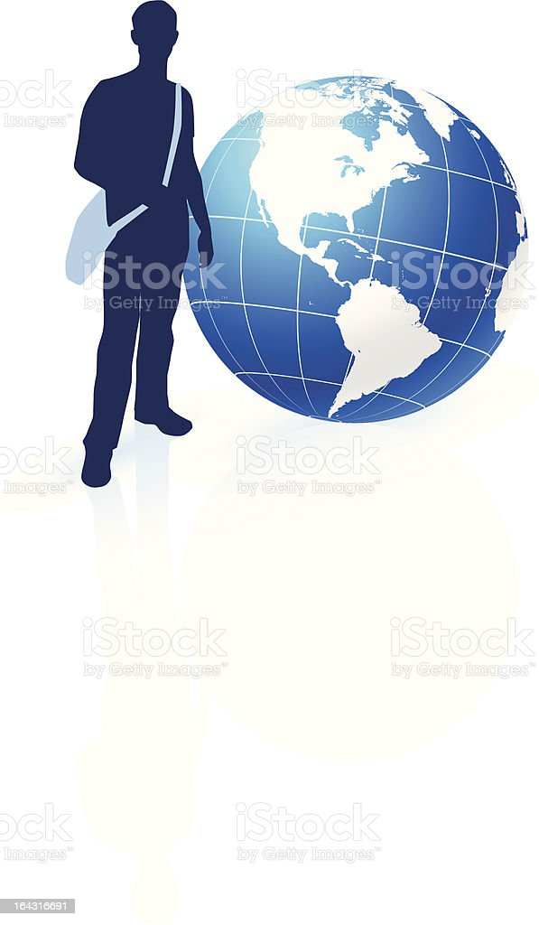 Young traveller with globe royalty-free young traveller with globe stock vector art & more images of abstract