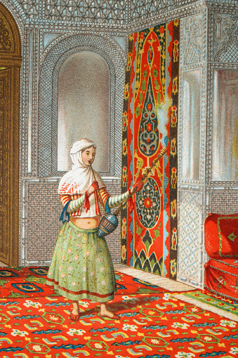 Young Turkish Ottoman woman smoking a water pipe, 19th Century